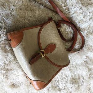 Cream and Brown Dooney and Bourke Vintage Handbag
